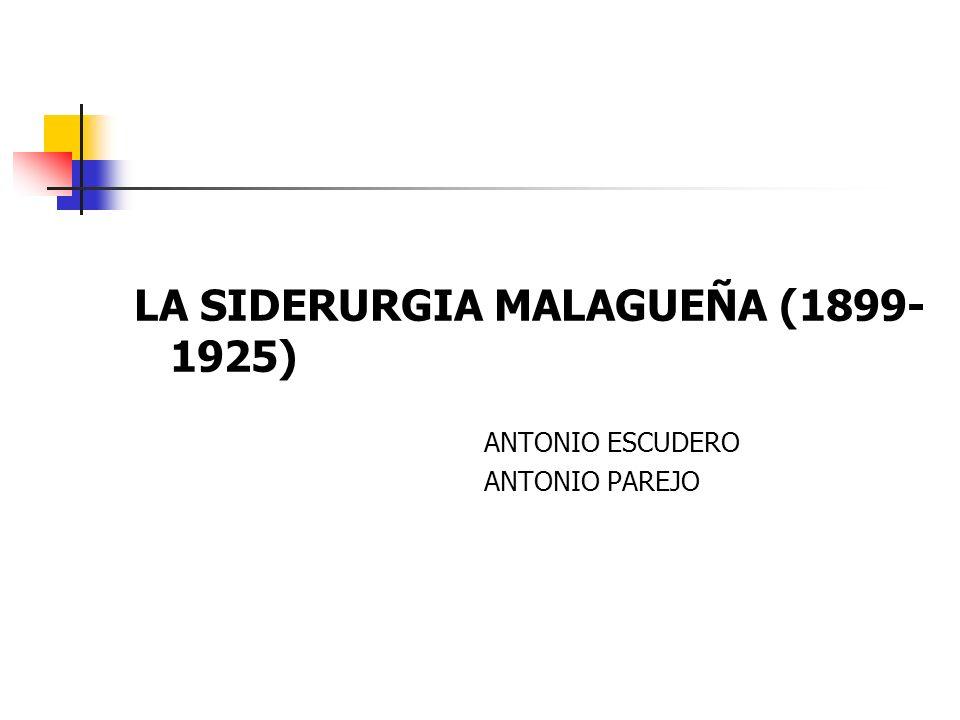 PARTES DEL TRABAJO 1) Fuentes 2) Orto y ocaso de las dos fábricas de Heredia (1826- 1890) 3) Hauts Fourneaux, Forges et Aciéries de Malaga (1899-1907) 4) Altos Hornos de Andalucía (1911-1923) 5) Conclusiones: ¿por qué fracasó el intento de resucitar la siderurgia malagueña?