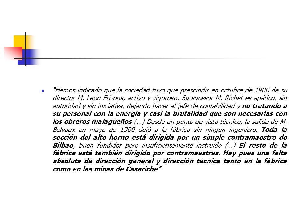 Hemos indicado que la sociedad tuvo que prescindir en octubre de 1900 de su director M. León Frizons, activo y vigoroso. Su sucesor M. Richet es apáti