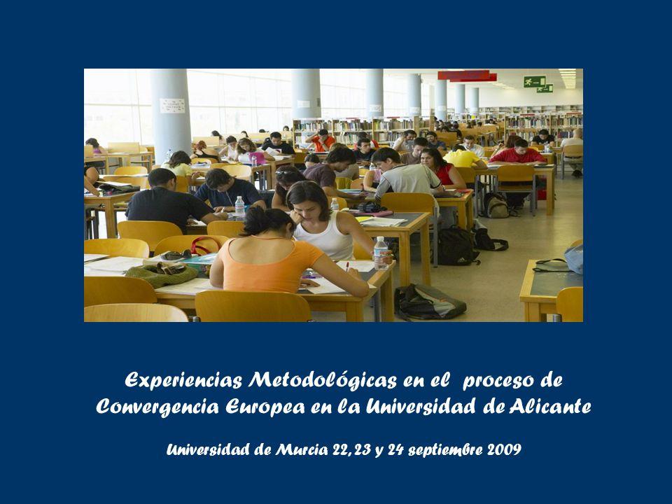 Experiencias Metodológicas en el proceso de Convergencia Europea en la Universidad de Alicante Universidad de Murcia 22, 23 y 24 septiembre 2009