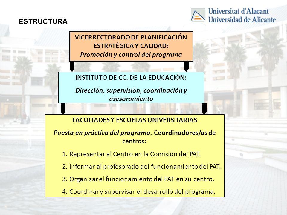 VICERRECTORADO DE PLANIFICACIÓN ESTRATÉGICA Y CALIDAD: Promoción y control del programa INSTITUTO DE CC.