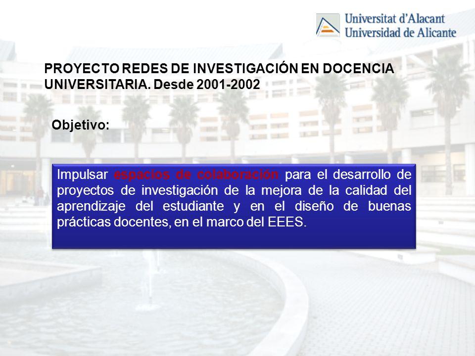 PROYECTO REDES DE INVESTIGACIÓN EN DOCENCIA UNIVERSITARIA.