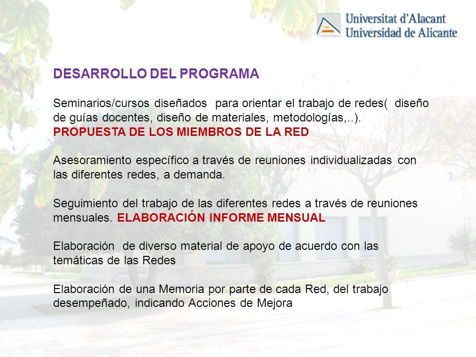 DESARROLLO DEL PROGRAMA Seminarios/cursos diseñados para orientar el trabajo de redes( diseño de guías docentes, diseño de materiales, metodologías,..).