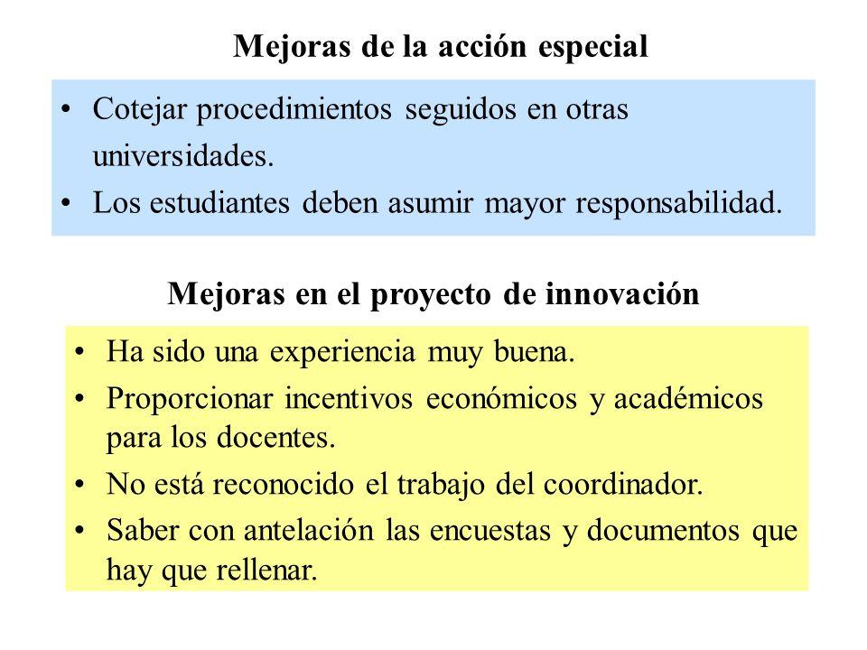 Mejoras de la acción especial Cotejar procedimientos seguidos en otras universidades.