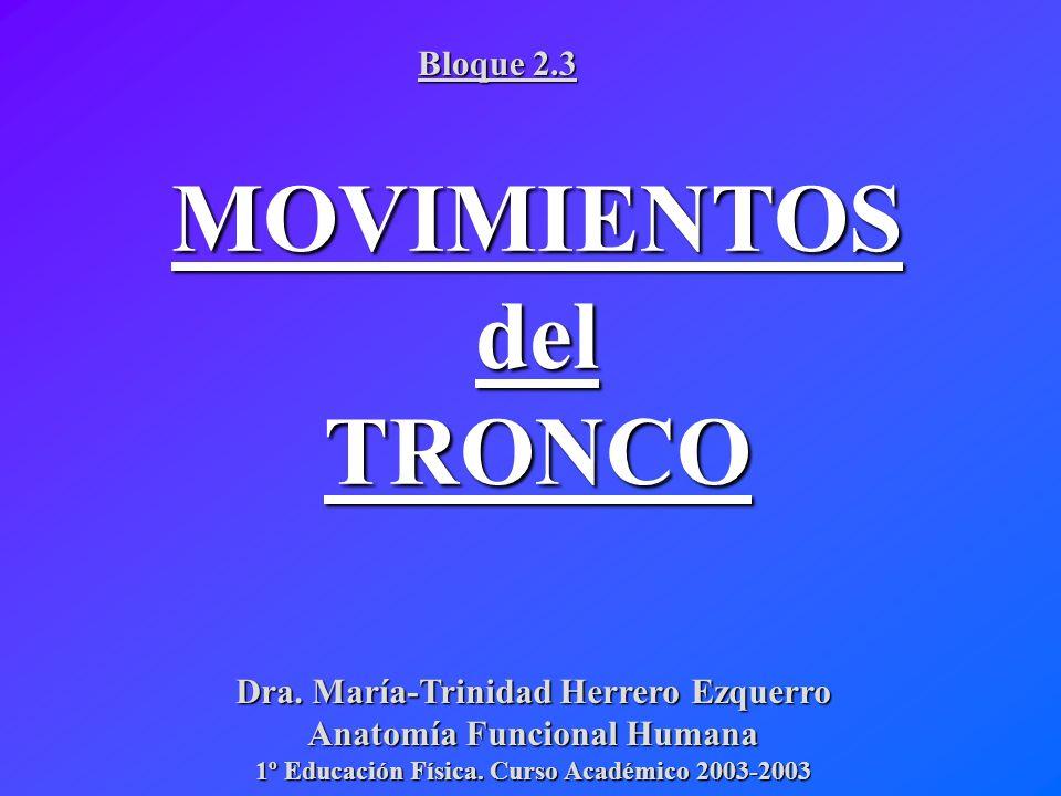 Dra. María-Trinidad Herrero Ezquerro Anatomía Funcional Humana 1º Educación Física. Curso Académico 2003-2003 MOVIMIENTOSdelTRONCO Bloque 2.3
