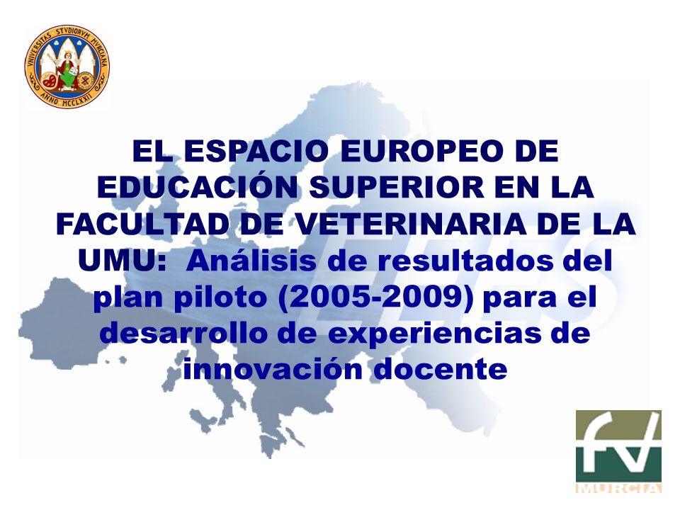 EL ESPACIO EUROPEO DE EDUCACIÓN SUPERIOR EN LA FACULTAD DE VETERINARIA DE LA UMU: Análisis de resultados del plan piloto (2005-2009) para el desarroll
