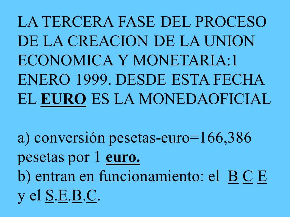 LA TERCERA FASE DEL PROCESO DE LA CREACION DE LA UNION ECONOMICA Y MONETARIA:1 ENERO 1999.