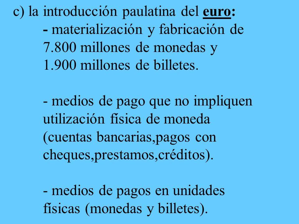 c) la introducción paulatina del euro: - materialización y fabricación de 7.800 millones de monedas y 1.900 millones de billetes.