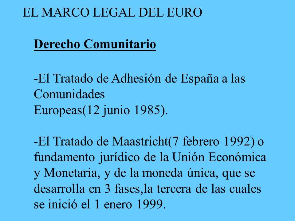 EL MARCO LEGAL DEL EURO Derecho Comunitario -El Tratado de Adhesión de España a las Comunidades Europeas(12 junio 1985).