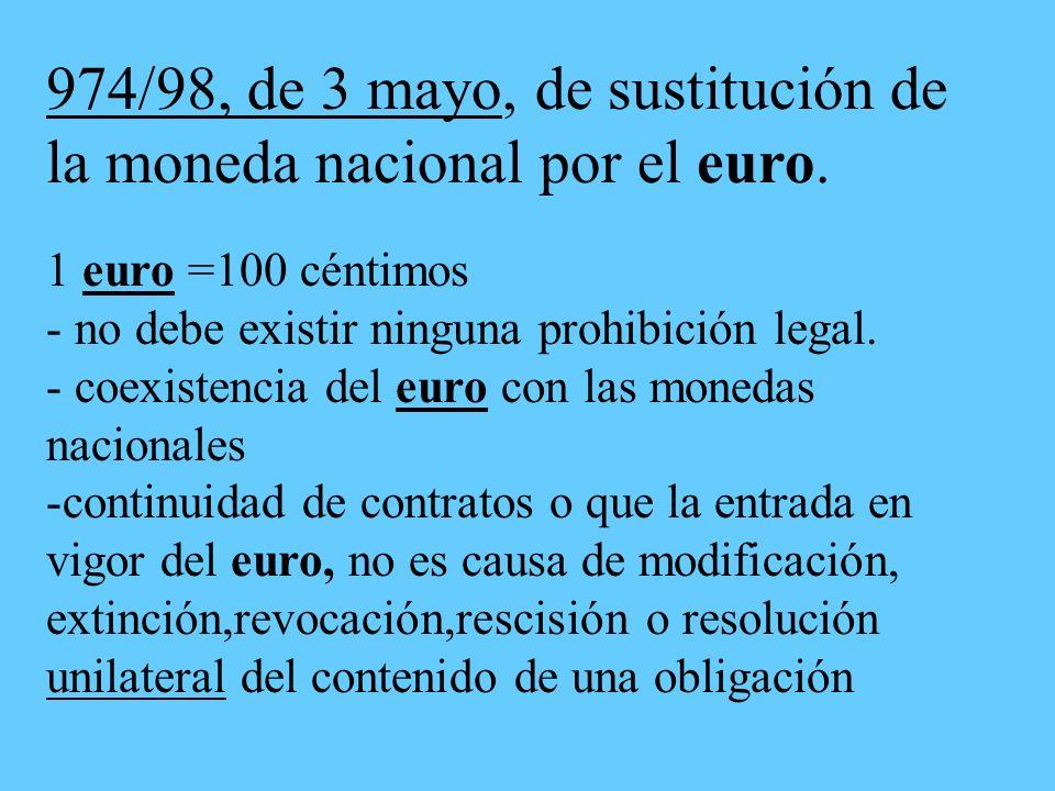 974/98, de 3 mayo, de sustitución de la moneda nacional por el euro.