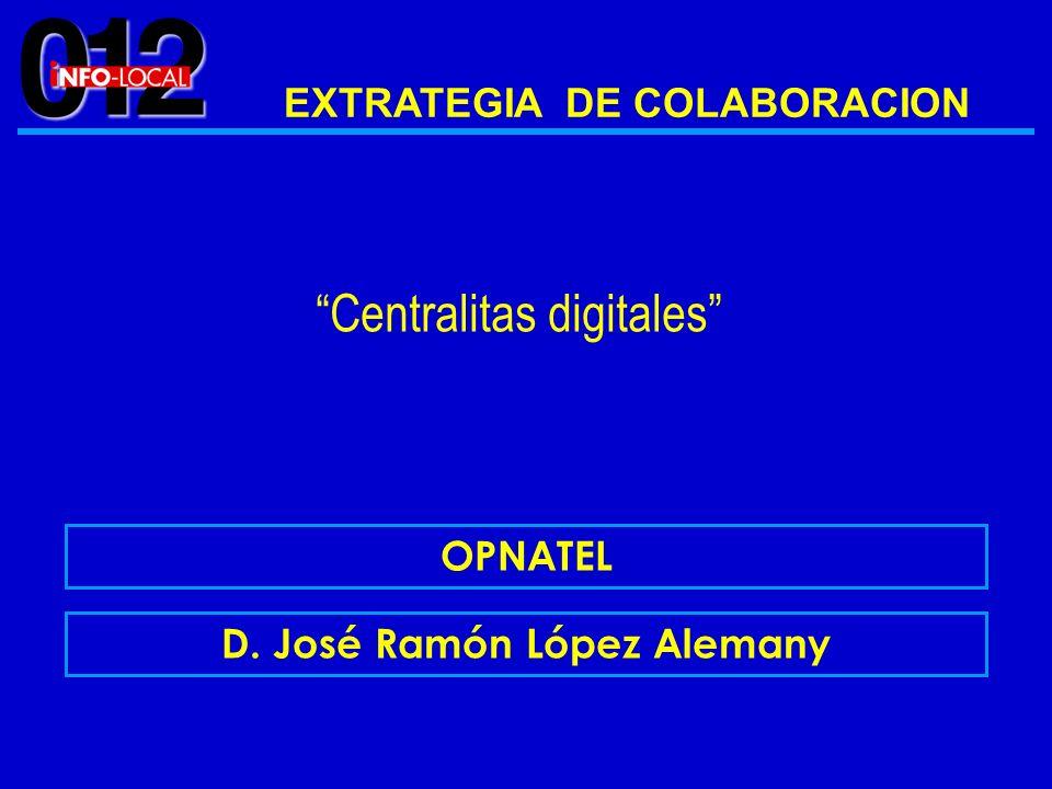 EXTRATEGIA DE COLABORACION OPNATEL D. José Ramón López Alemany Centralitas digitales