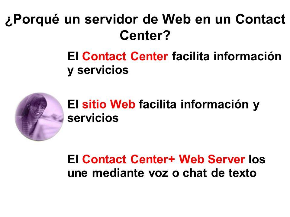 ¿Porqué un servidor de Web en un Contact Center? El Contact Center facilita información y servicios El sitio Web facilita información y servicios El C