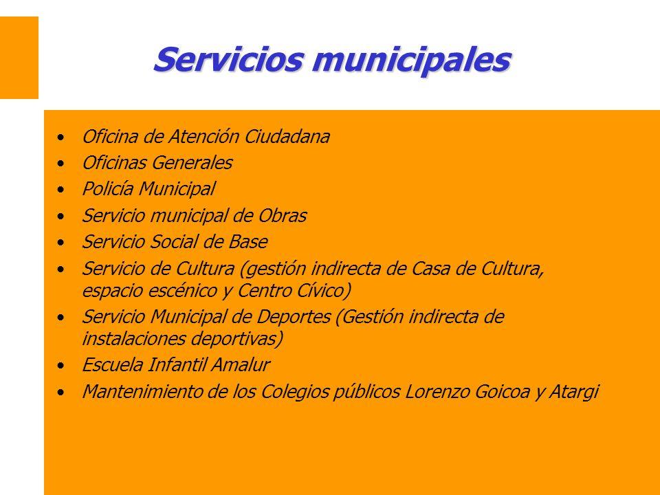Servicios municipales Oficina de Atención Ciudadana Oficinas Generales Policía Municipal Servicio municipal de Obras Servicio Social de Base Servicio