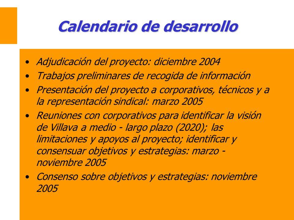 Calendario de desarrollo Adjudicación del proyecto: diciembre 2004 Trabajos preliminares de recogida de información Presentación del proyecto a corpor