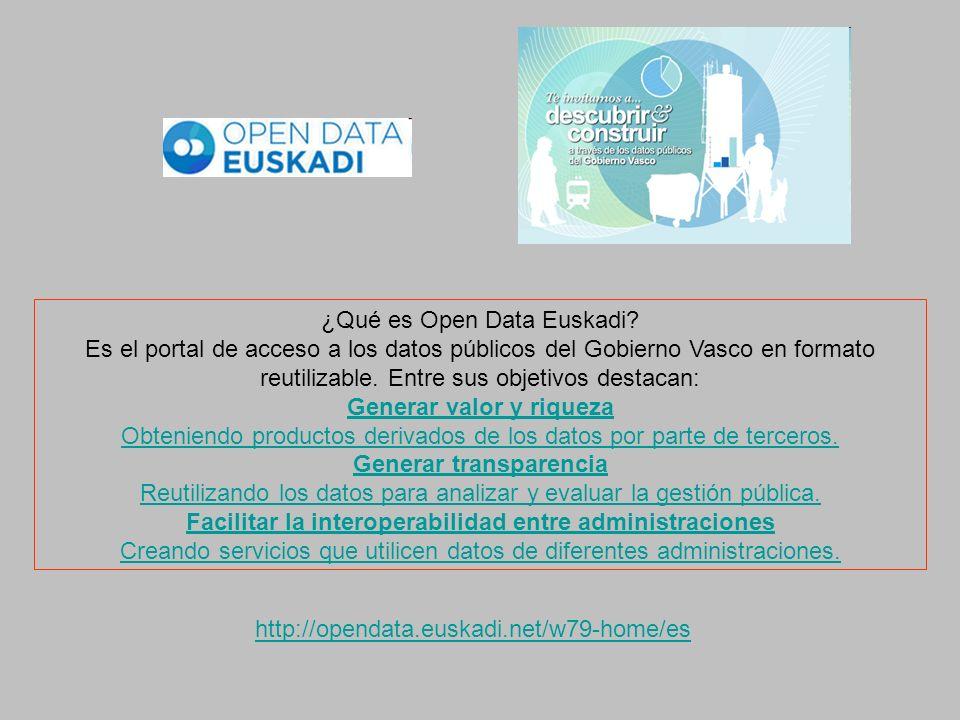 http://opendata.euskadi.net/w79-home/es ¿Qué es Open Data Euskadi? Es el portal de acceso a los datos públicos del Gobierno Vasco en formato reutiliza