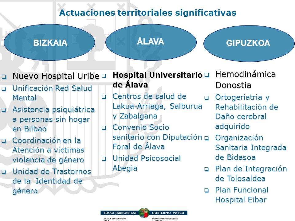 Actuaciones territoriales significativas BIZKAIA ÁLAVA GIPUZKOA Nuevo Hospital Uribe Nuevo Hospital Uribe Unificación Red Salud Mental Unificación Red