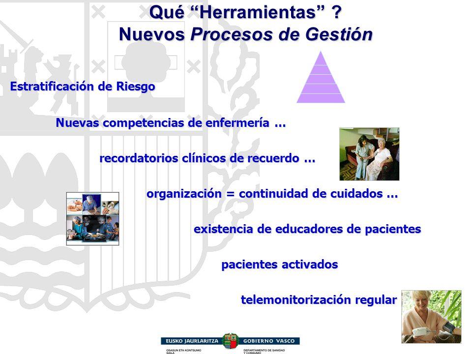 Qué Herramientas ? Nuevos Procesos de Gestión Estratificación de Riesgo Estratificación de Riesgo Nuevas competencias de enfermería … Nuevas competenc