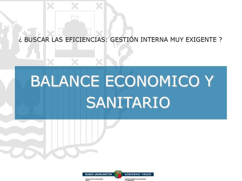 BALANCE ECONOMICO Y SANITARIO ¿ BUSCAR LAS EFICIENCIAS: GESTIÓN INTERNA MUY EXIGENTE ?