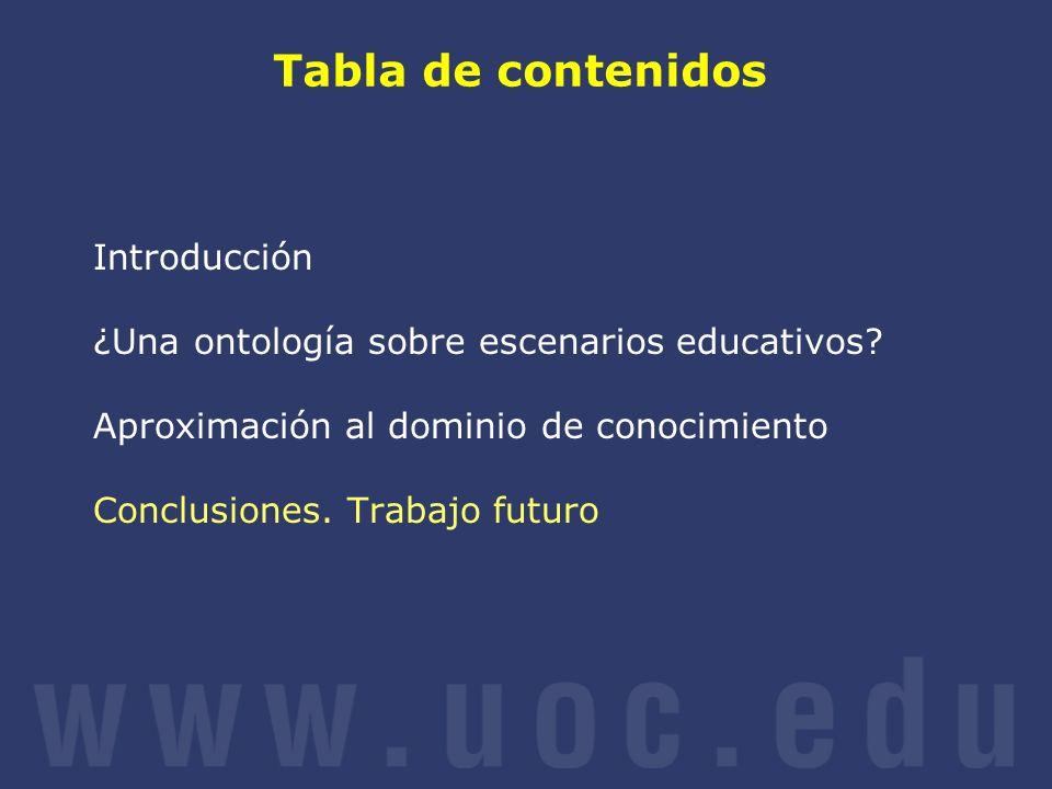 Tabla de contenidos Introducción ¿Una ontología sobre escenarios educativos? Aproximación al dominio de conocimiento Conclusiones. Trabajo futuro