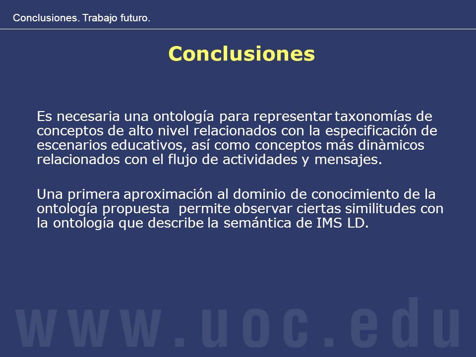 Conclusiones. Trabajo futuro. Conclusiones Es necesaria una ontología para representar taxonomías de conceptos de alto nivel relacionados con la espec