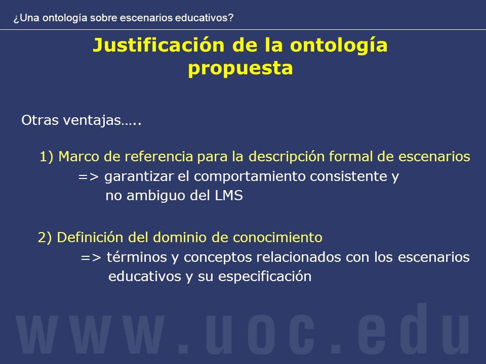 Justificación de la ontología propuesta ¿Una ontología sobre escenarios educativos.