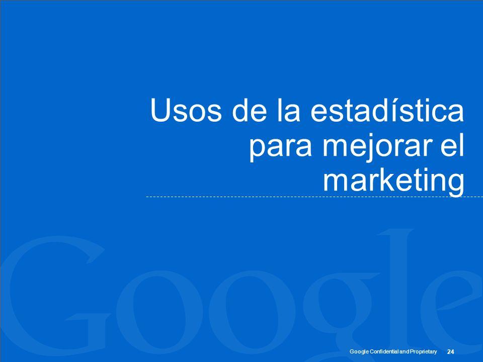 Google Confidential and Proprietary 24 Usos de la estadística para mejorar el marketing