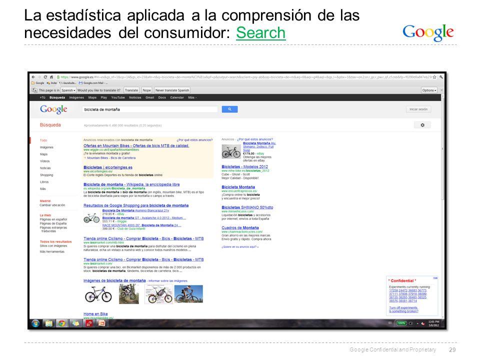 Google Confidential and Proprietary La estadística aplicada a la comprensión de las necesidades del consumidor: Search 29