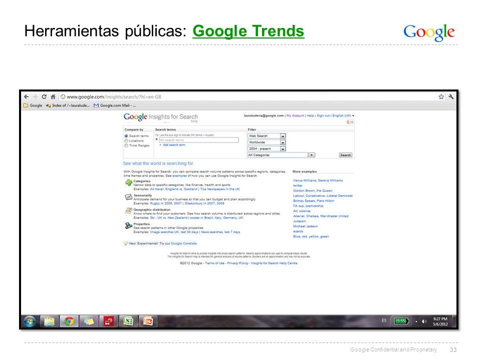 Google Confidential and Proprietary 33 Herramientas públicas: Google TrendsGoogle Trends