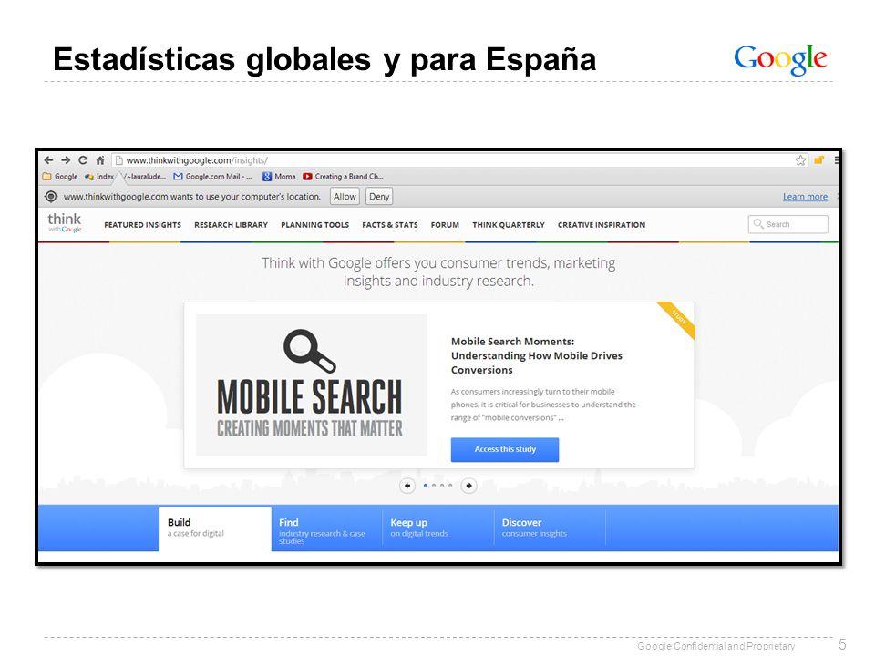 Google Confidential and Proprietary 5 Estadísticas globales y para España