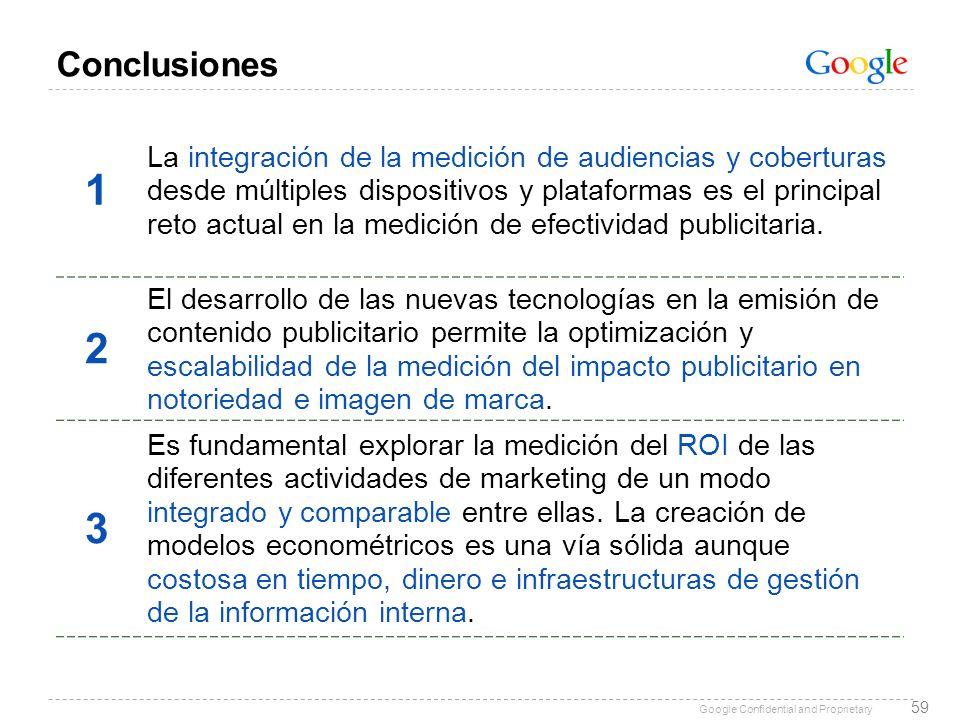 Google Confidential and Proprietary 59 Conclusiones 1 La integración de la medición de audiencias y coberturas desde múltiples dispositivos y platafor