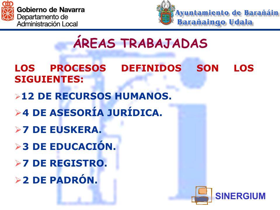 ÁREAS TRABAJADAS LOS PROCESOS DEFINIDOS SON LOS SIGUIENTES: 12 DE RECURSOS HUMANOS. 4 DE ASESORÍA JURÍDICA. 7 DE EUSKERA. 3 DE EDUCACIÓN. 7 DE REGISTR