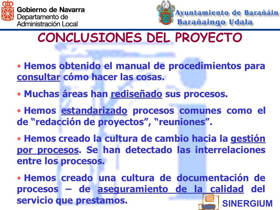CONCLUSIONES DEL PROYECTO Hemos obtenido el manual de procedimientos para consultar cómo hacer las cosas. Muchas áreas han rediseñado sus procesos. He