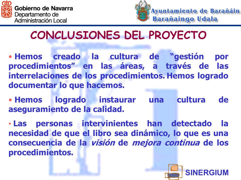 CONCLUSIONES DEL PROYECTO Hemos creado la cultura de gestión por procedimientos en las áreas, a través de las interrelaciones de los procedimientos. H