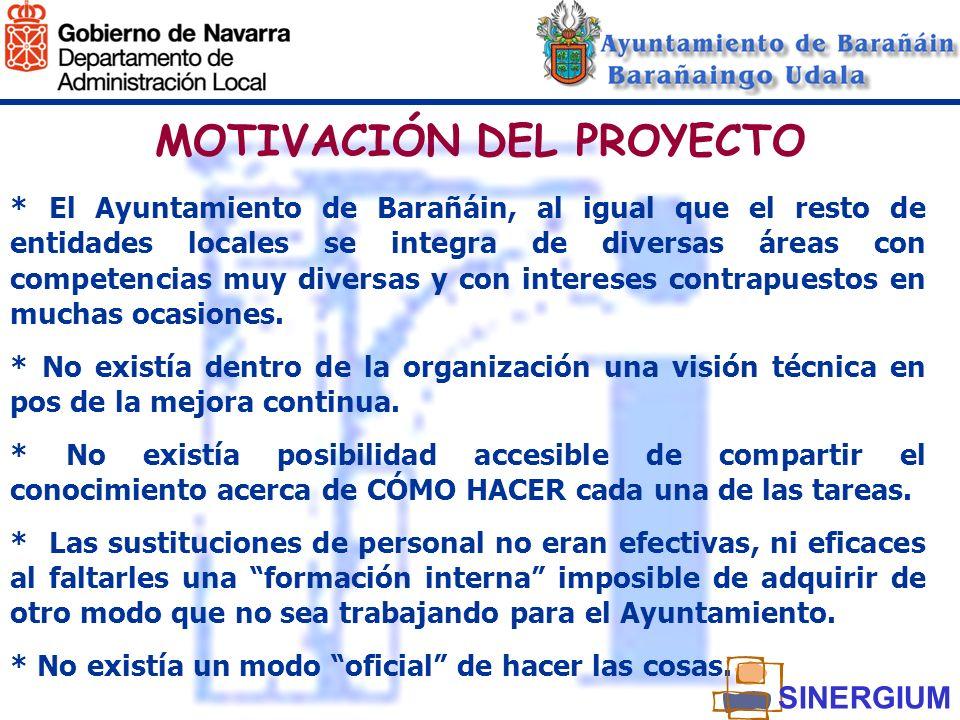 MOTIVACIÓN DEL PROYECTO * El Ayuntamiento de Barañáin, al igual que el resto de entidades locales se integra de diversas áreas con competencias muy di