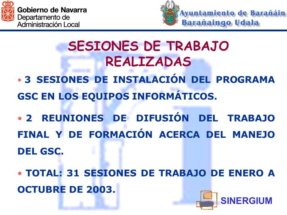 SESIONES DE TRABAJO REALIZADAS 3 SESIONES DE INSTALACIÓN DEL PROGRAMA GSC EN LOS EQUIPOS INFORMÁTICOS. 2 REUNIONES DE DIFUSIÓN DEL TRABAJO FINAL Y DE