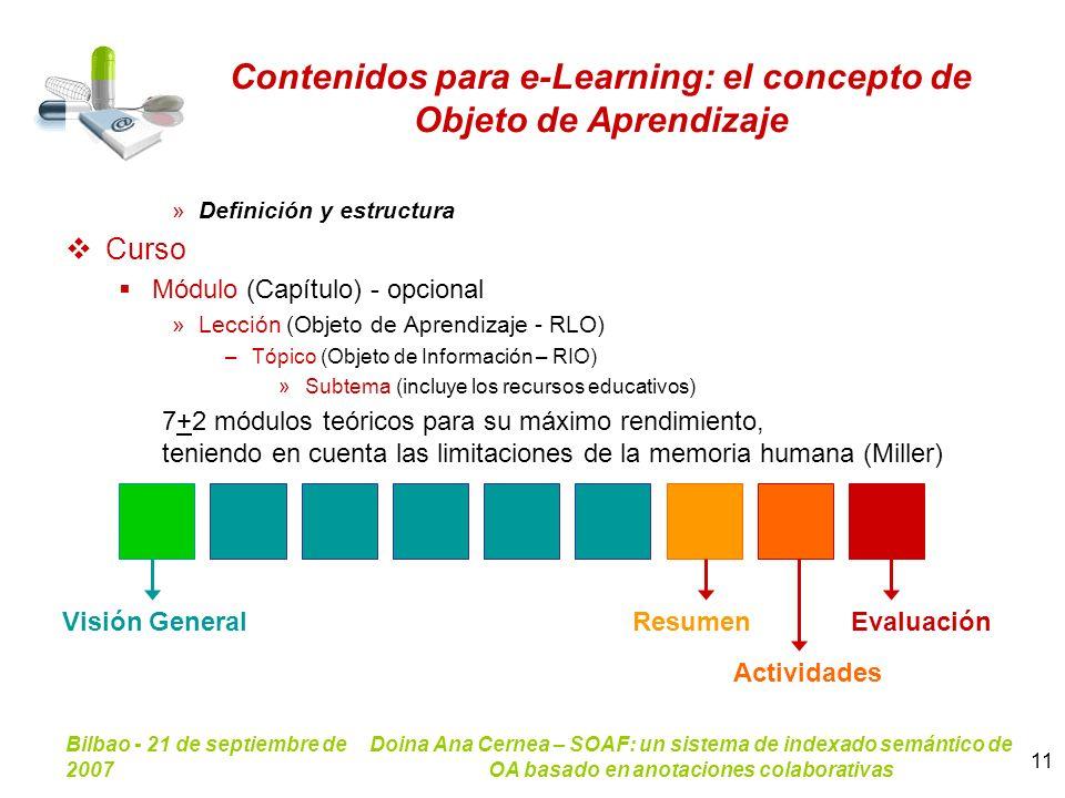 Bilbao - 21 de septiembre de 2007 Doina Ana Cernea – SOAF: un sistema de indexado semántico de OA basado en anotaciones colaborativas 11 Contenidos pa
