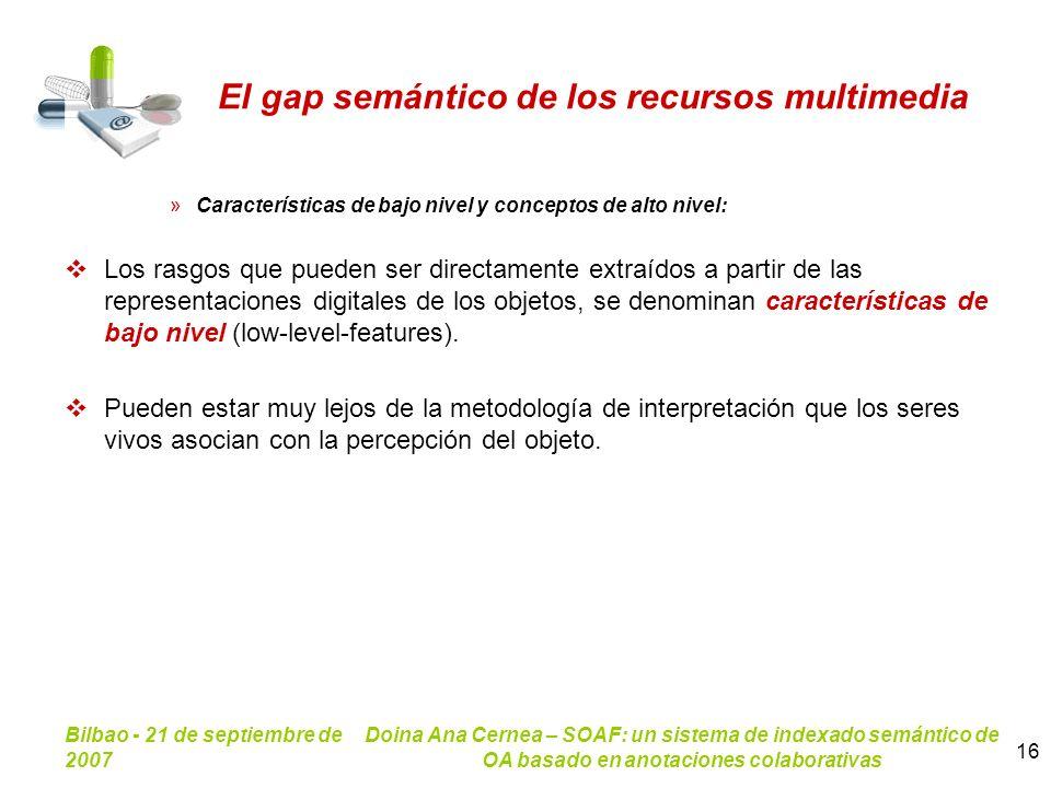 Bilbao - 21 de septiembre de 2007 Doina Ana Cernea – SOAF: un sistema de indexado semántico de OA basado en anotaciones colaborativas 16 El gap semánt