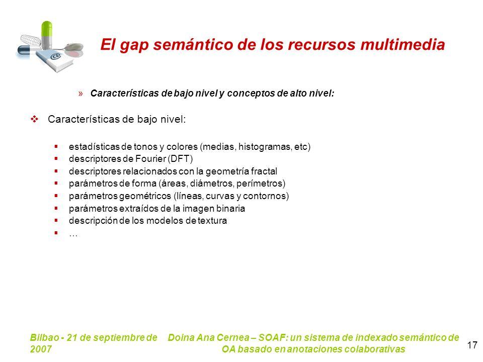 Bilbao - 21 de septiembre de 2007 Doina Ana Cernea – SOAF: un sistema de indexado semántico de OA basado en anotaciones colaborativas 17 El gap semánt