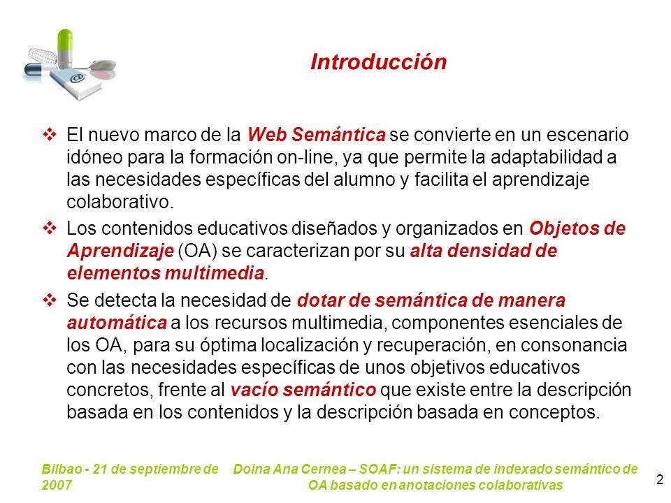 Bilbao - 21 de septiembre de 2007 Doina Ana Cernea – SOAF: un sistema de indexado semántico de OA basado en anotaciones colaborativas 2 Introducción E