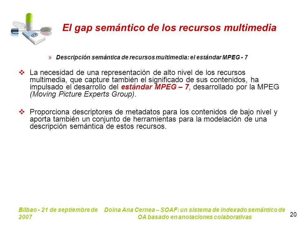Bilbao - 21 de septiembre de 2007 Doina Ana Cernea – SOAF: un sistema de indexado semántico de OA basado en anotaciones colaborativas 20 El gap semánt