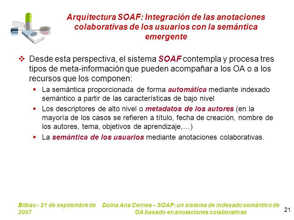Bilbao - 21 de septiembre de 2007 Doina Ana Cernea – SOAF: un sistema de indexado semántico de OA basado en anotaciones colaborativas 21 Arquitectura