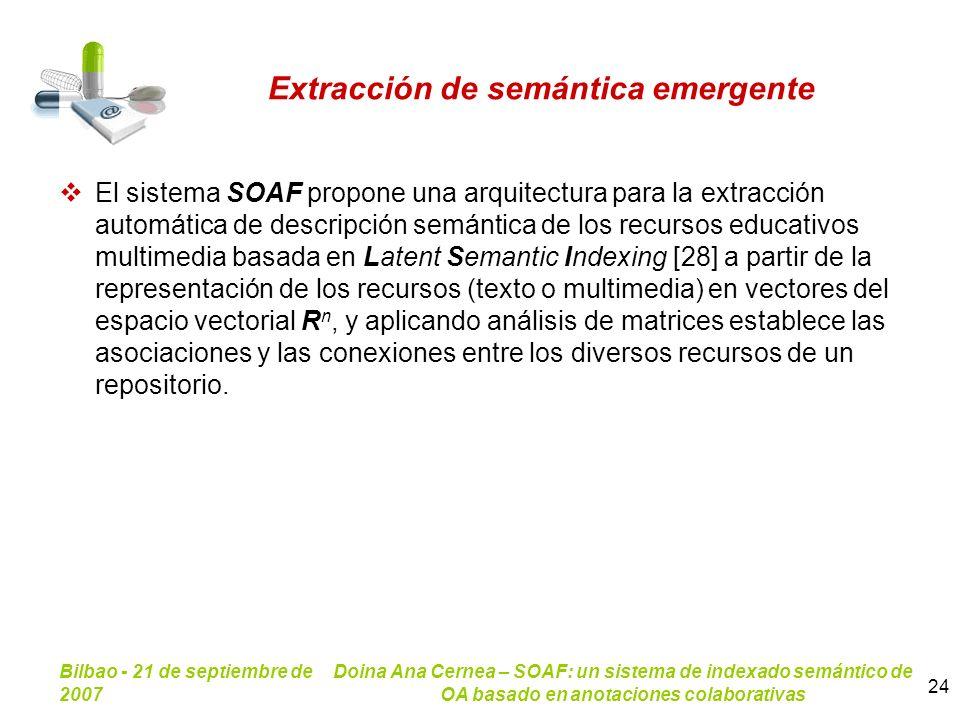 Bilbao - 21 de septiembre de 2007 Doina Ana Cernea – SOAF: un sistema de indexado semántico de OA basado en anotaciones colaborativas 24 Extracción de