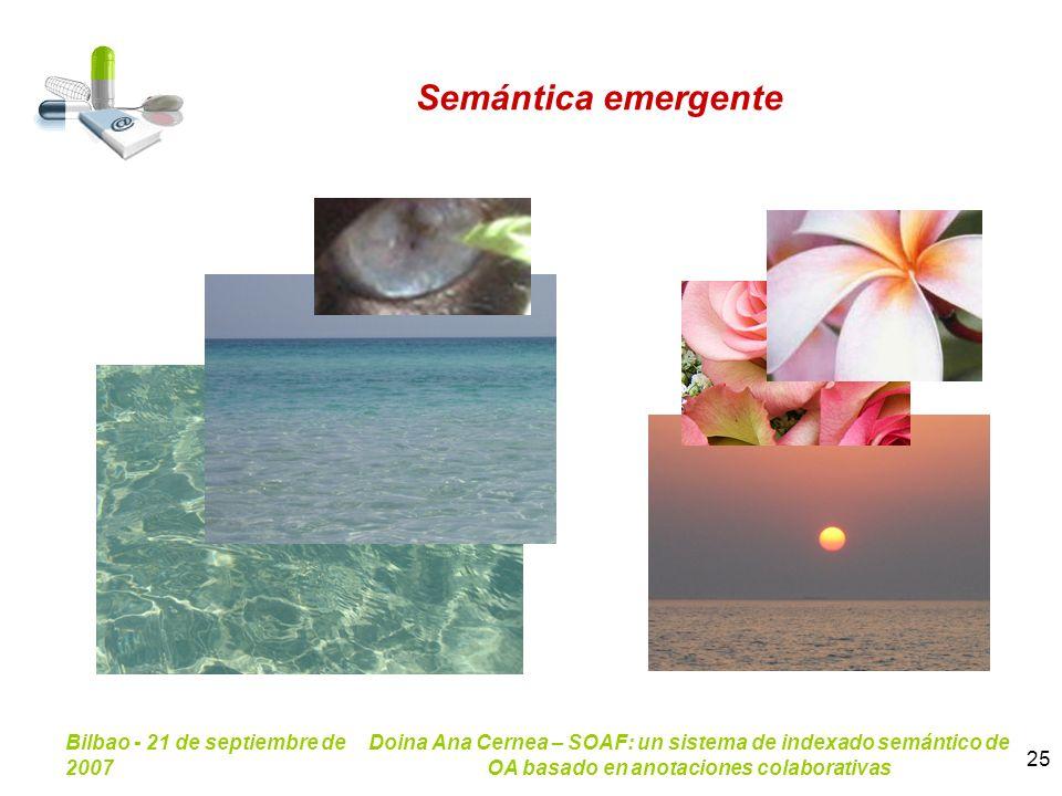 Bilbao - 21 de septiembre de 2007 Doina Ana Cernea – SOAF: un sistema de indexado semántico de OA basado en anotaciones colaborativas 25 Semántica eme