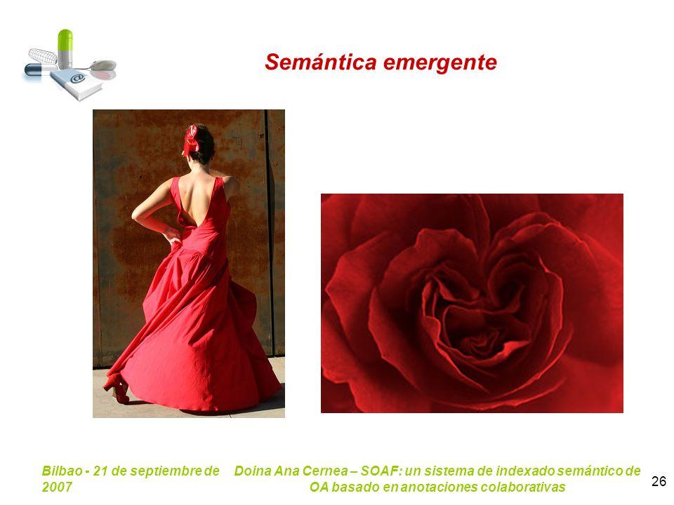 Bilbao - 21 de septiembre de 2007 Doina Ana Cernea – SOAF: un sistema de indexado semántico de OA basado en anotaciones colaborativas 26 Semántica eme