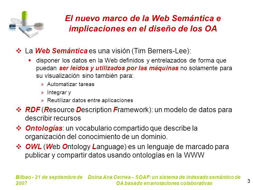 Bilbao - 21 de septiembre de 2007 Doina Ana Cernea – SOAF: un sistema de indexado semántico de OA basado en anotaciones colaborativas 3 El nuevo marco