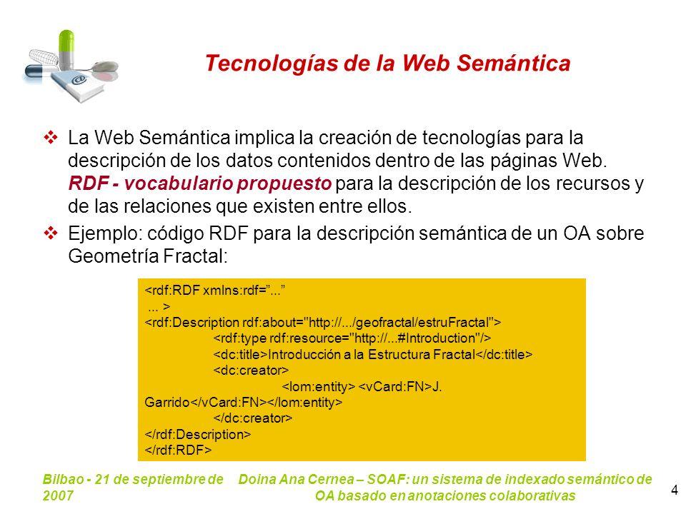 Bilbao - 21 de septiembre de 2007 Doina Ana Cernea – SOAF: un sistema de indexado semántico de OA basado en anotaciones colaborativas 4 Tecnologías de