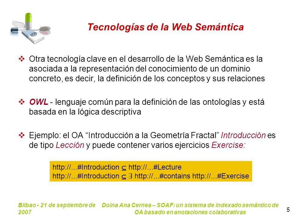 Bilbao - 21 de septiembre de 2007 Doina Ana Cernea – SOAF: un sistema de indexado semántico de OA basado en anotaciones colaborativas 5 Tecnologías de