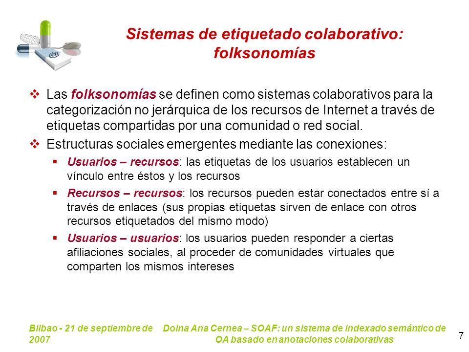 Bilbao - 21 de septiembre de 2007 Doina Ana Cernea – SOAF: un sistema de indexado semántico de OA basado en anotaciones colaborativas 7 Sistemas de et
