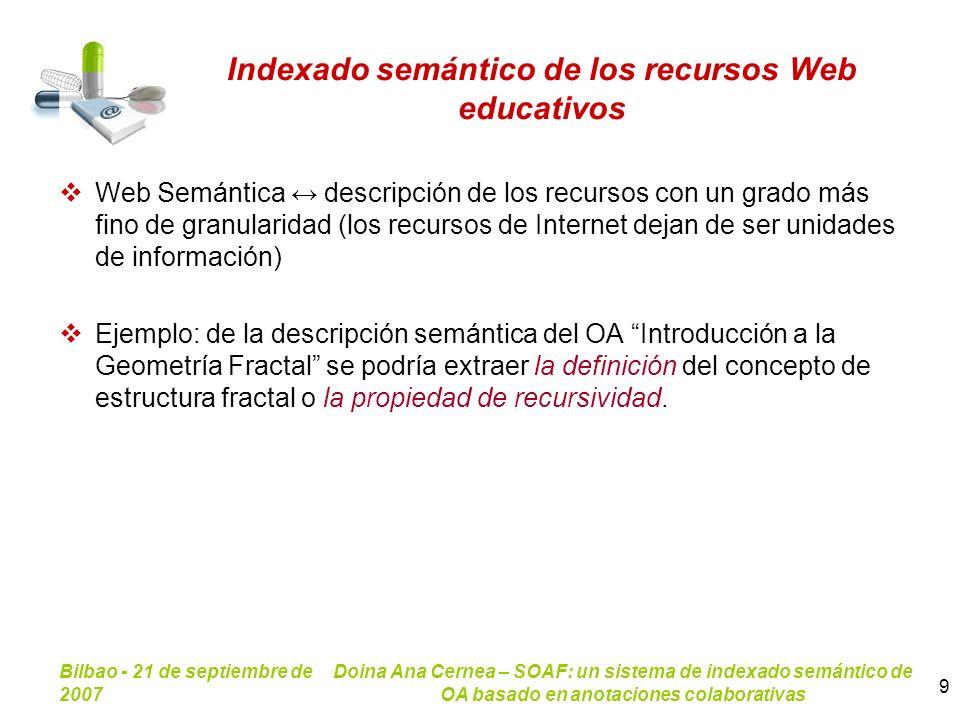 Bilbao - 21 de septiembre de 2007 Doina Ana Cernea – SOAF: un sistema de indexado semántico de OA basado en anotaciones colaborativas 9 Indexado semán