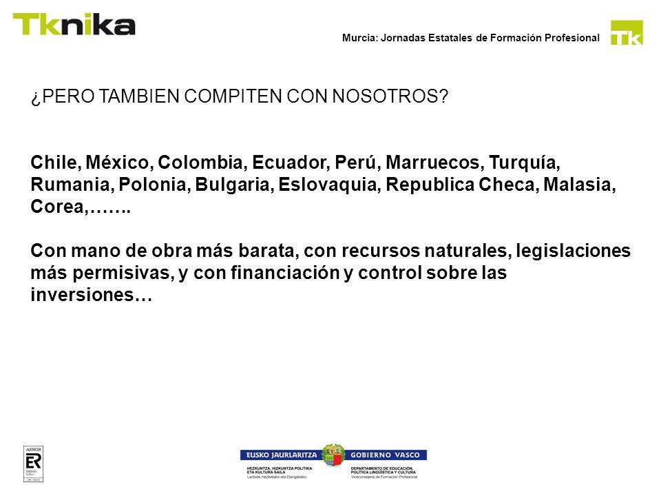 ¿PERO TAMBIEN COMPITEN CON NOSOTROS? Chile, México, Colombia, Ecuador, Perú, Marruecos, Turquía, Rumania, Polonia, Bulgaria, Eslovaquia, Republica Che