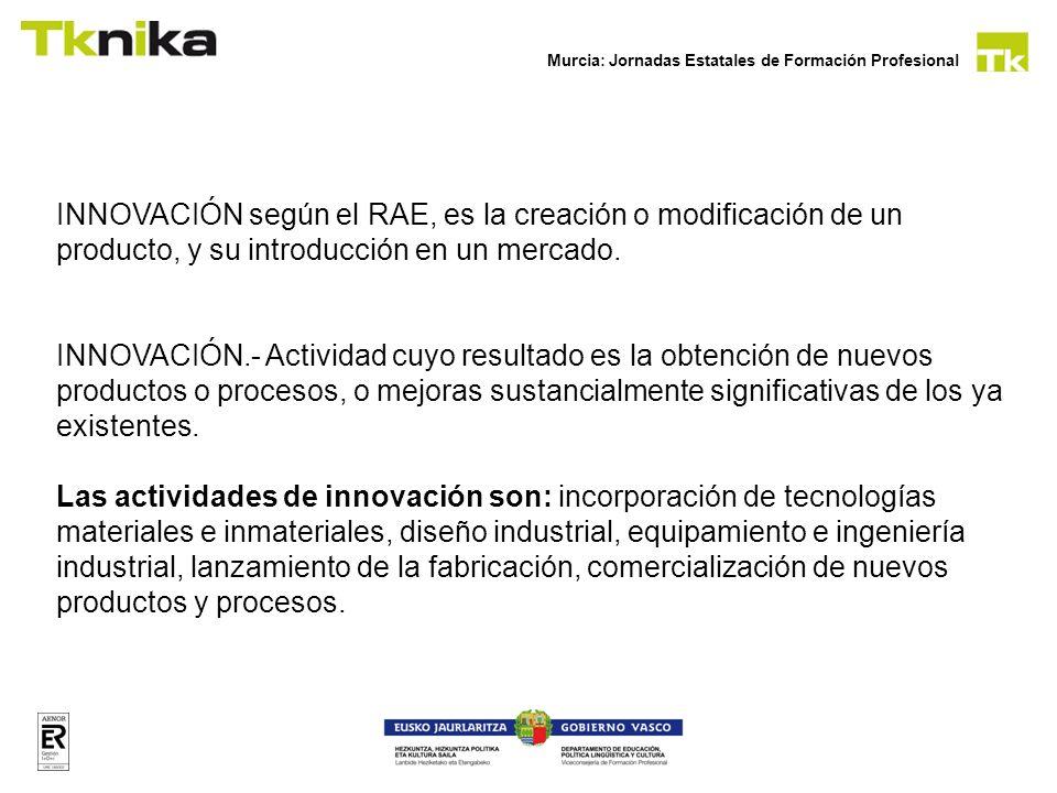 Murcia: Jornadas Estatales de Formación Profesional INNOVACIÓN según el RAE, es la creación o modificación de un producto, y su introducción en un mer